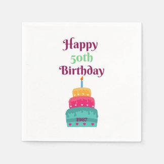 För födelsedagtårta för lycklig 50th servetter