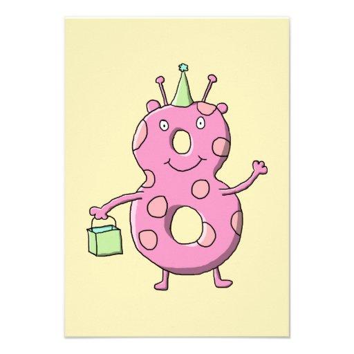 För födelsedagtecknad för nätt rosor 8th Monster. Skräddarsydda Inbjudan