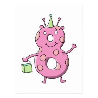 För födelsedagtecknad för nätt rosor 8th Monster. Vykort