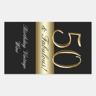 För födelsedagvin för svart metalliskt guld 50th rektangulärt klistermärke