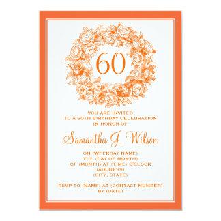 För födelsedagvintage för elegant 60th orange ro 12,7 x 17,8 cm inbjudningskort