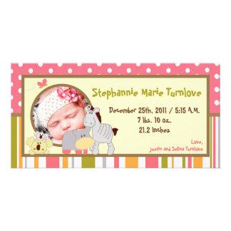 för födelsemeddelande för foto 4x8 flicka för fotokort