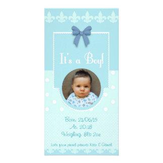 För födelsemeddelande för pojke beställnings- kort fotokort