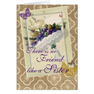 För för bukettsyster och vän för vintage violett hälsningskort