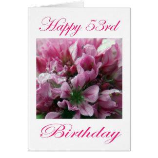 För för födelsedagrosor och grönt för lycklig 53rd hälsningskort