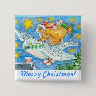 För för julkanin & uggla för Folk konst helgdag Standard Kanpp Fyrkantig 5.1 Cm