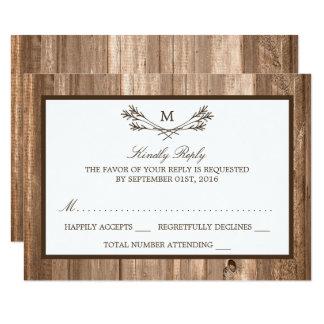 För för Monogramgren & trä för land lantligt 8,9 X 12,7 Cm Inbjudningskort