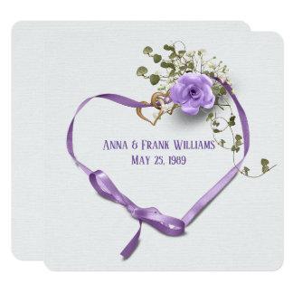 för förnyande-lilor för bröllopvow hjärta band med fyrkantigt 13,3 cm inbjudningskort