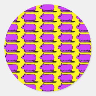 För försökskaninHamster för tecknad purpurfärgade Runt Klistermärke
