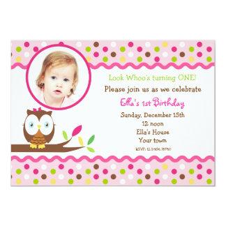 För fotoanpassningsbar för uggla gulliga kort för inbjudningar