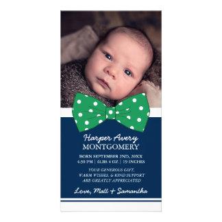 För fotobaby shower för grön pilbåge beställnings- fotokort