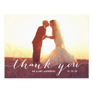 För fotobröllop för handskrift 2 vykort för tack