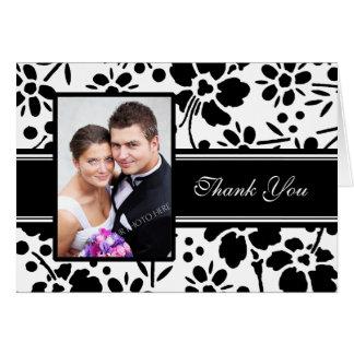 För fotobröllop för svart & för vit blom- kort för