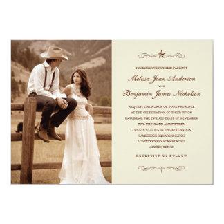 För fotobröllop för vintage westerna inbjudningar
