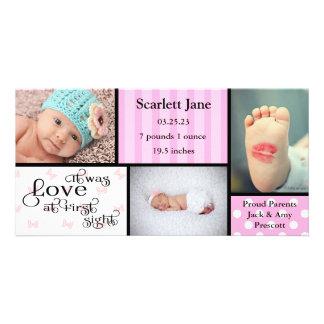 För fotoCollage-Födelse för flicka 3 kort för foto