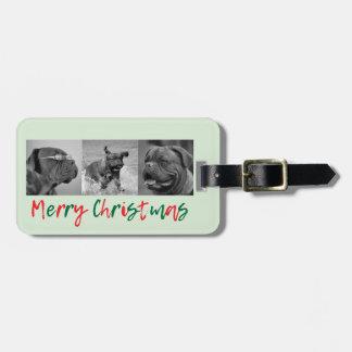 För fotoCollage för anpassningsbar 3 julen för Bagagebricka
