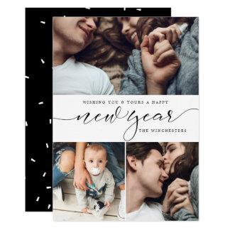 För fotoCollage för nytt år tre kort för nytt år 12,7 X 17,8 Cm Inbjudningskort