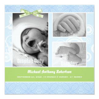 För fotofödelse för blått damastast meddelande fyrkantigt 13,3 cm inbjudningskort