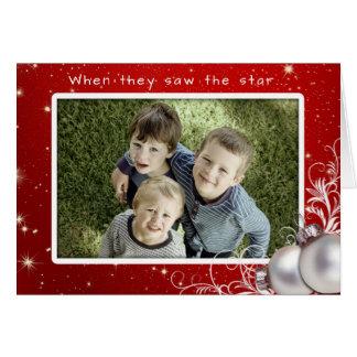 För fotohälsning för kristen jul stort kort hälsningskort