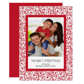 För fotohelgdag för modern elegans rött inramat 12,7 x 17,8 cm inbjudningskort