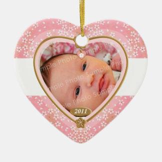 För fotohjärta för baby dubbel sidram julgransprydnad keramik