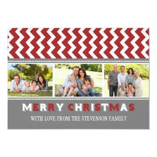 För fotokort för god jul 3 sparre för grå färg röd 12,7 x 17,8 cm inbjudningskort