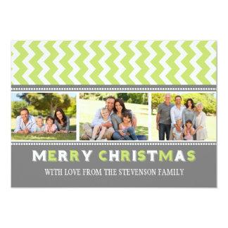 För fotokort för god jul 3 sparre för grönt för 12,7 x 17,8 cm inbjudningskort