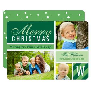 För fotokort för god jul | grön Collage 12,7 X 17,8 Cm Inbjudningskort