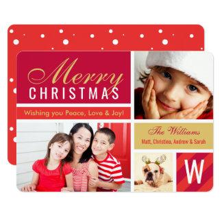 För fotokort för god jul | röd Collage 12,7 X 17,8 Cm Inbjudningskort