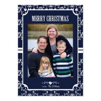 för fotokort för jul 5x7 mönster för julstjärna 12,7 x 17,8 cm inbjudningskort