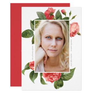 För fotostudenten för vintage blom- rosor för 12,7 x 17,8 cm inbjudningskort