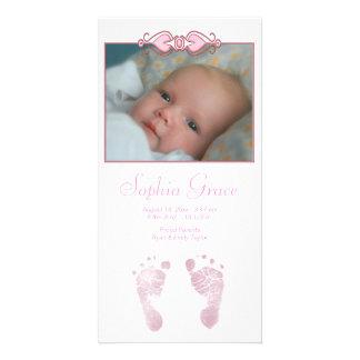För fotspårfödelse för flicka rosa meddelande fotokort