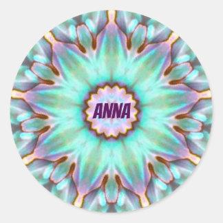 ~ för Fractal för ANNA ~ personifierad Paua Runt Klistermärke