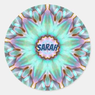 ~ för Fractal för Sarah ~ personifierad Paua Runt Klistermärke