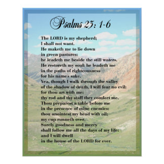 För Framable för Psalm 23 TRYCK AFFISCH