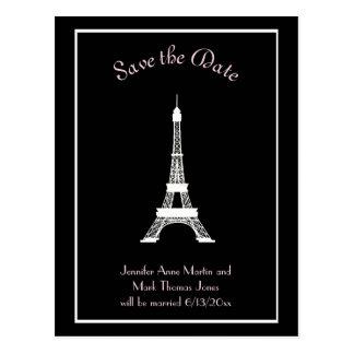 För franskEiffel för svart vit rosa spara torn Vykort