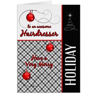för frisör | röd och svart för pläd | helgdag hälsningskort