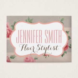 För frisörsalong för rosa blommigt rosa visitkort
