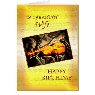 För fru ett musikaliskt födelsedagkort med en fiol hälsningskort