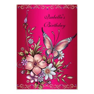 För Fushia för födelsedag elegant rosa fjäril 12,7 X 17,8 Cm Inbjudningskort