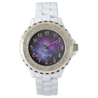 För galaxutrymme för personlig purpurfärgat foto armbandsur