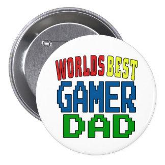 För Gamerpappa för världar bäst emblem Mellanstor Knapp Rund 7.6 Cm