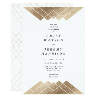 För Gatsby för geometrisk vit guld- inbjudan