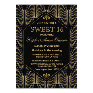 För Gatsby för ryta 20-tal underbart party sött 16 11,4 X 15,9 Cm Inbjudningskort