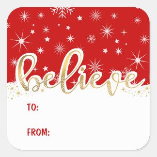 För gåvamärkre för tro jul röd handskriven fyrkantigt klistermärke
