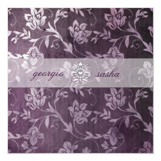 För GC purpurfärgad blom- vintage Passionately Fyrkantigt 13,3 Cm Inbjudningskort
