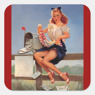 För Gil Elvgren för vintage Retro flicka för pinup Fyrkantigt Klistermärke