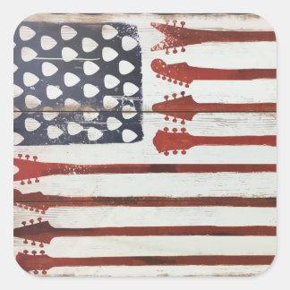 För gitarrmusik för amerikanska flaggan fyrkantigt klistermärke