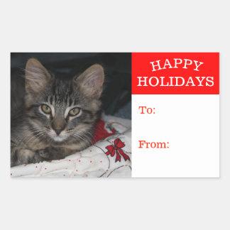 För glad helggåva för mycket liten kattunge rektangulärt klistermärke