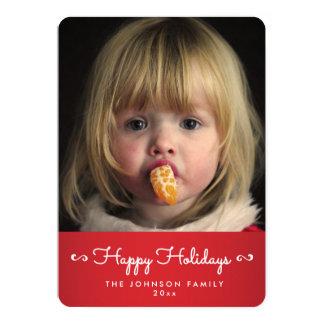 För glad helgpersonlig för runda röda kort för 12,7 x 17,8 cm inbjudningskort